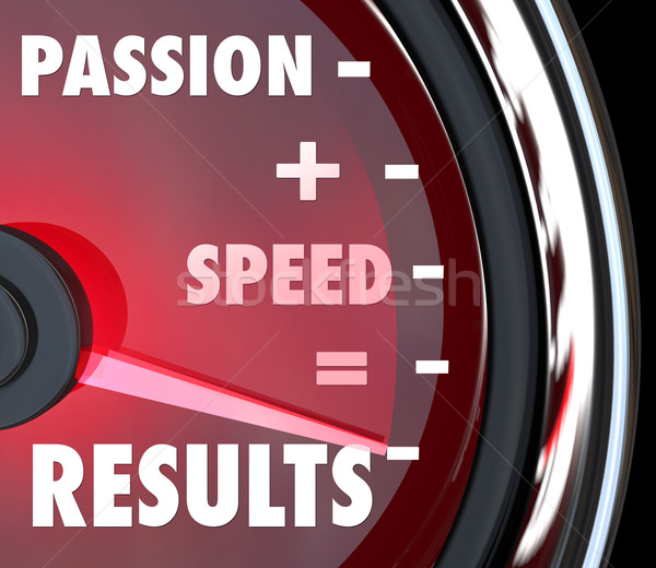Passie snelheid resultaten woorden snelheidsmeter Stockfoto © iqoncept
