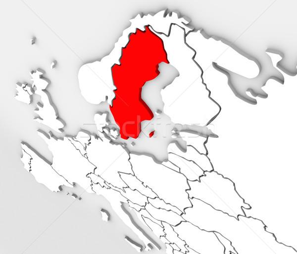 3D streszczenie Szwecja Pokaż Europie Zdjęcia stock © iqoncept