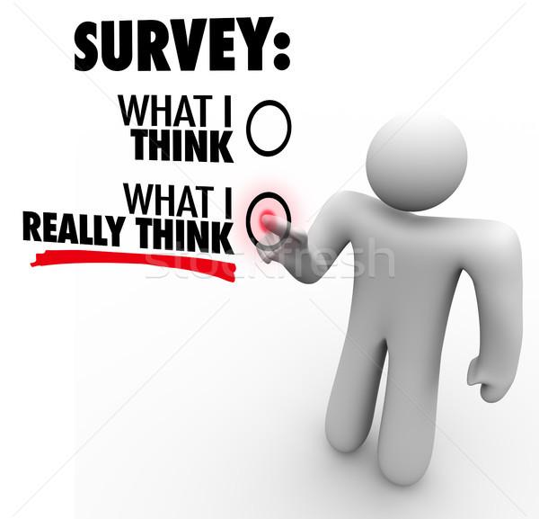 Felmérés mi gondolkodik válaszok érintőképernyő válasz Stock fotó © iqoncept