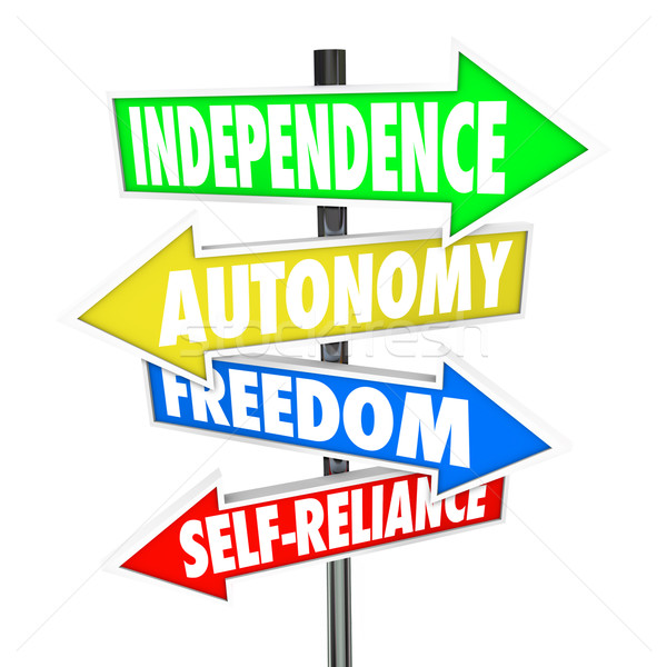 Independence Road Sign Arrows Autonomy Freedom Self-Reliance Stock photo © iqoncept