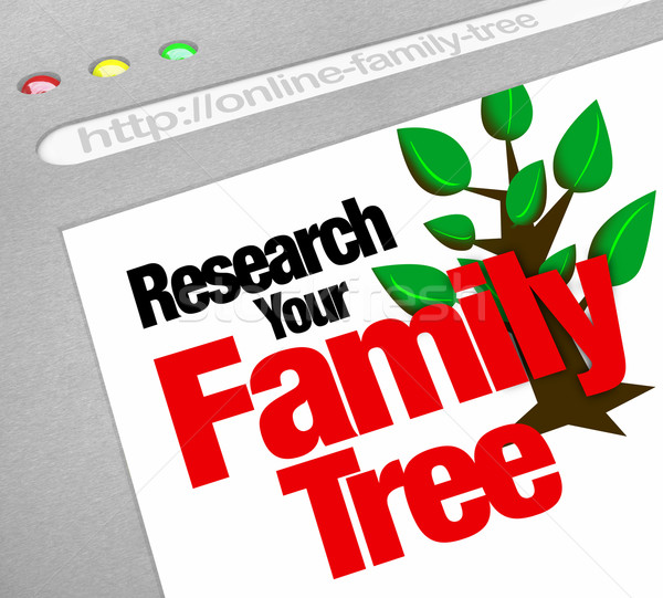 Badań rodziny drzewo online stronie bazy danych Zdjęcia stock © iqoncept