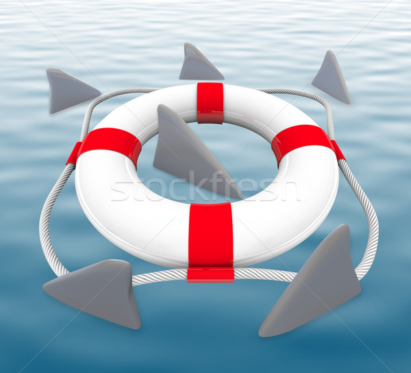Shark FIns Circling Life Preserver Stock photo © iqoncept