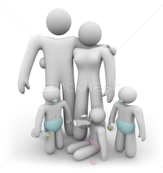 Triplet Children and their Parents Stock photo © iqoncept