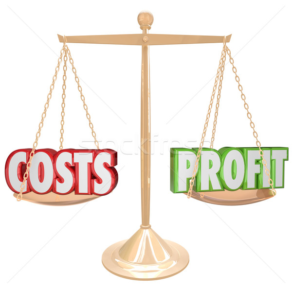 Costs vs Profit Gold Balance Weighing Words Stock photo © iqoncept