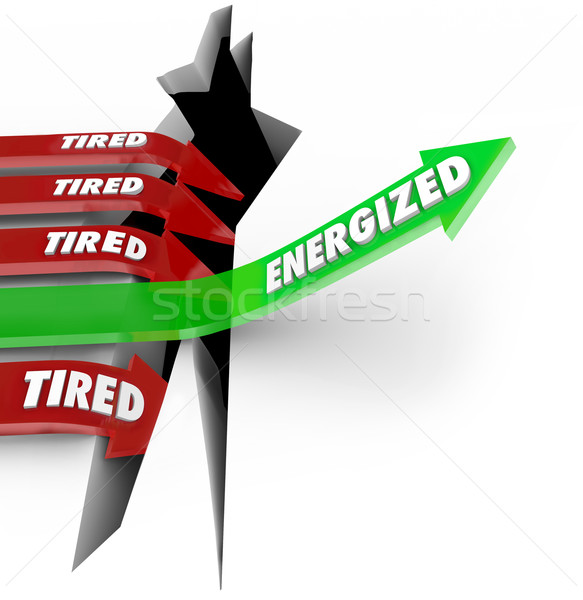 Energized Vs Tired Rest Eat Right Energy Succeed Stock photo © iqoncept