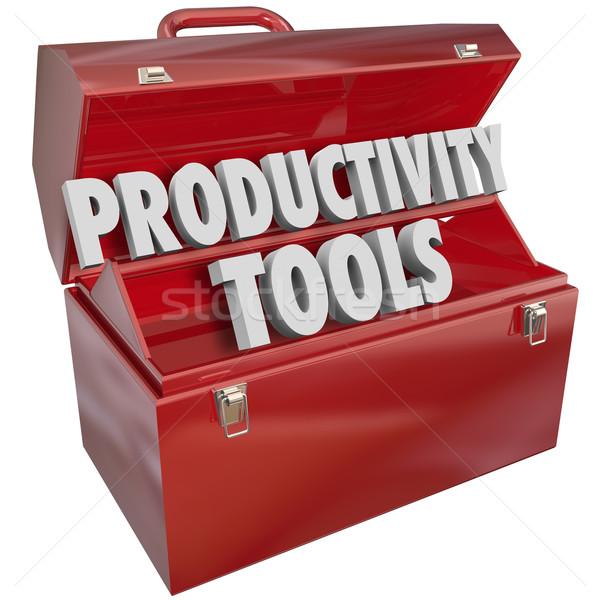 Produktiviteit tools woorden toolbox werken Stockfoto © iqoncept