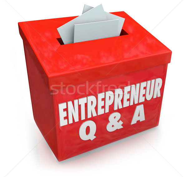 Stock photo: Entrepreneur Questions Answers Box Information Self Employment