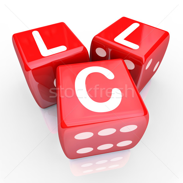 LLC Letters 3 Red Dice Gamble Bet New Business Venture Entrepren Stock photo © iqoncept