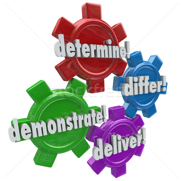 Determine Differ Demonstrate Deliver Four Steps WInning New Cust Stock photo © iqoncept