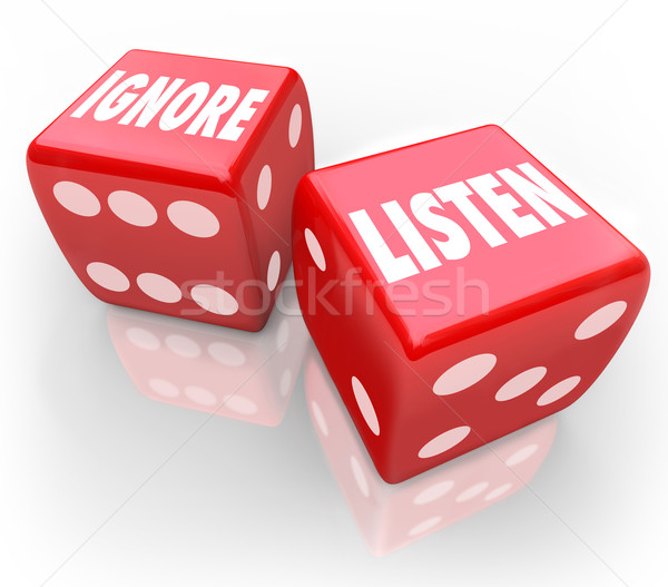 Listen Vs Ignore 2 Red Dice Words Paying Attention Stock photo © iqoncept