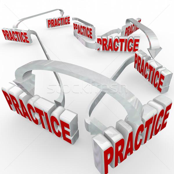 Practice Word Arrows Workflow Prepare Learn Training Stock photo © iqoncept