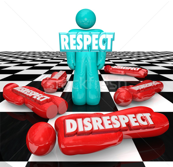 Stock photo: Respect Vs Disrespect One Person Winner Standing Chess Board