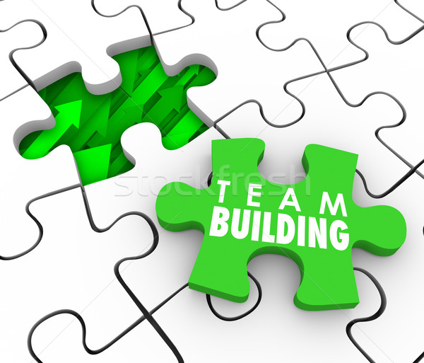 Team Building Puzzle Piece Hire Recruit New Employees Interactio Stock photo © iqoncept