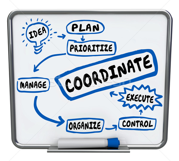 Coordinate Work Job Task Project Workflow Diagram Managing Execu Stock photo © iqoncept