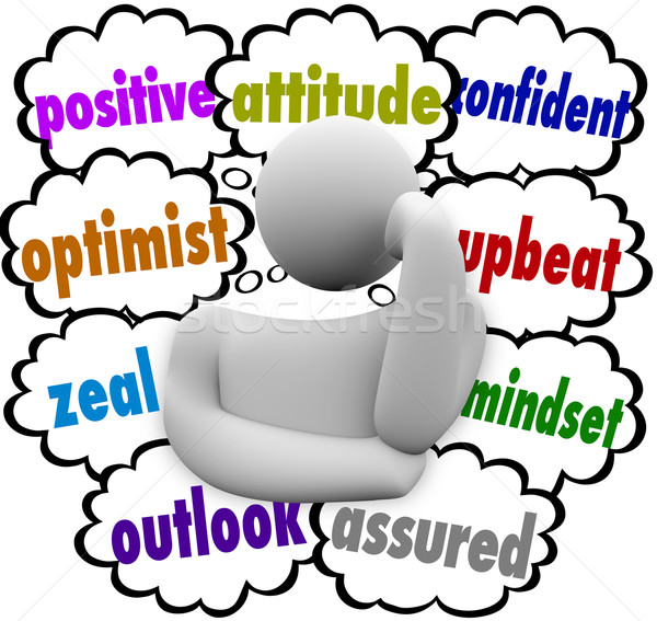 Positive Thought Clouds Person Thinker Good Attitude Stock photo © iqoncept