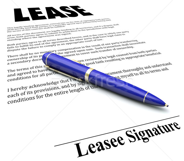 Lease Agreement Contract Pen Signing Signature Line Stock photo © iqoncept