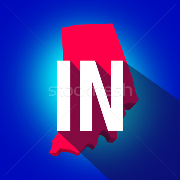 Indiana IN Letters Abbreviation Red 3d State Map Long Shadow Stock photo © iqoncept