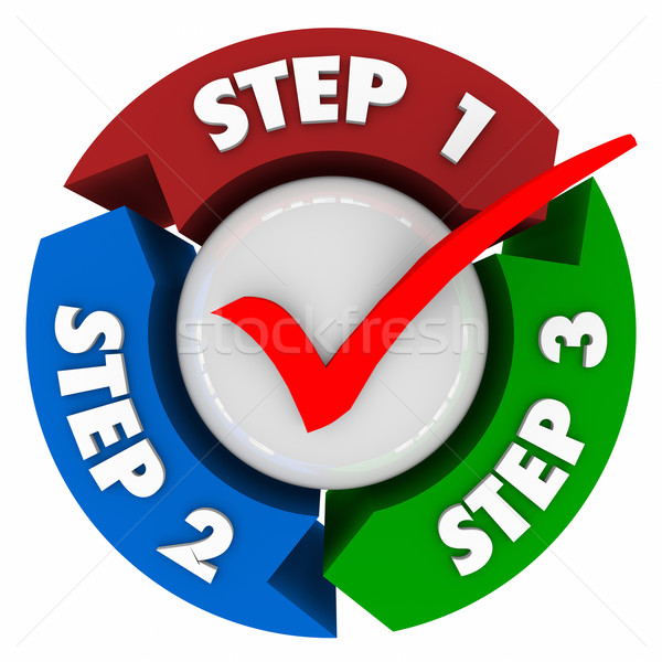 Three Steps 1 2 3 Process Instructions Directions Check Mark Stock photo © iqoncept