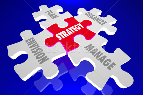 Strategy Envision Plan Organize Manage Puzzle Pieces 3d Animatio Stock photo © iqoncept