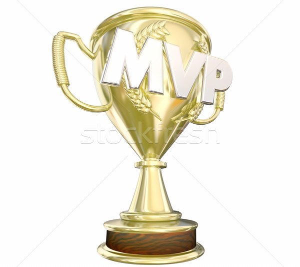 MVP Most Valuable Player Gold Trophy Award 3d Illustration Stock photo © iqoncept