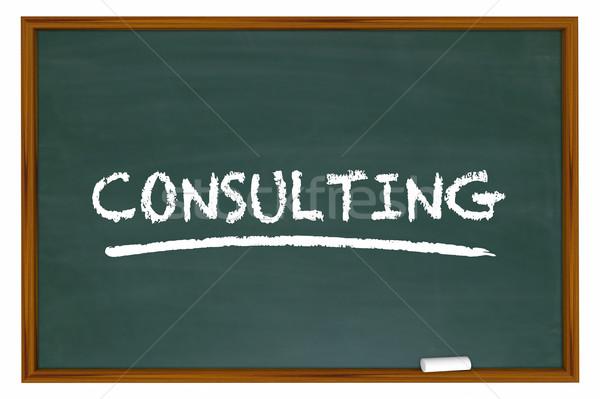 Consulting мелом совета слово консультант подготовки Сток-фото © iqoncept