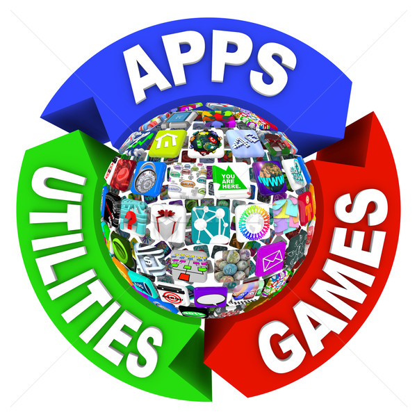 Sphere of Apps in Flowchart Diagram Stock photo © iqoncept