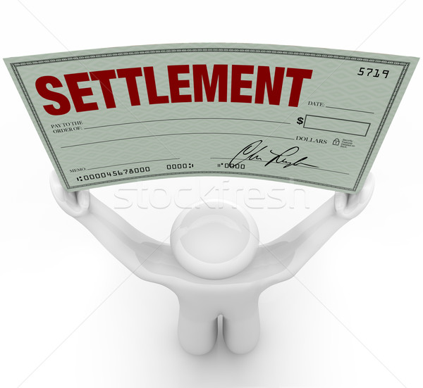 Man Holding Big Settlement Check Agreement Money Stock photo © iqoncept