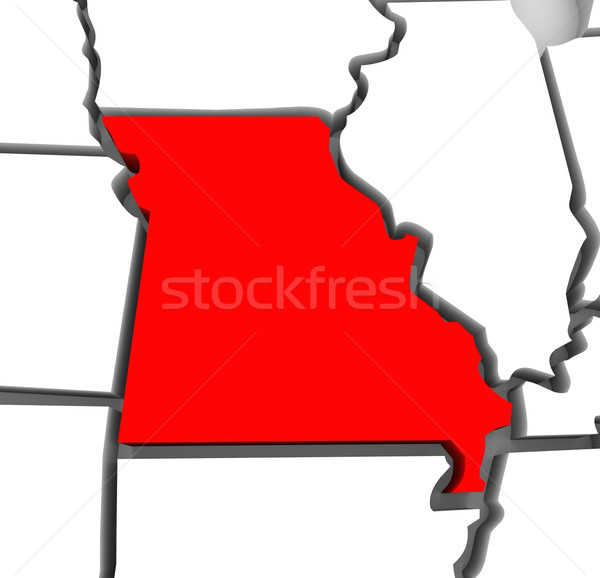 Stock photo: Missouri Red Abstract 3D State Map United States America