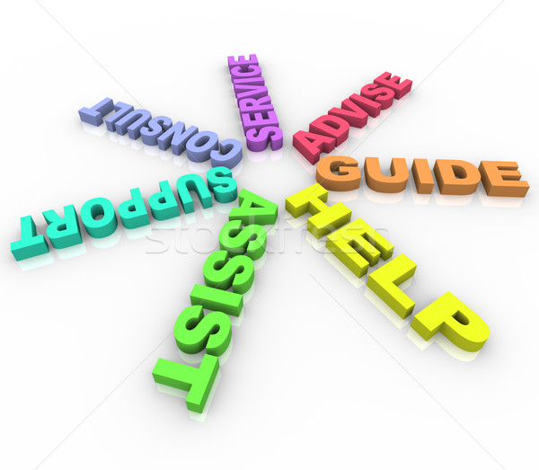 Help - Colored Words in a Circle Stock photo © iqoncept