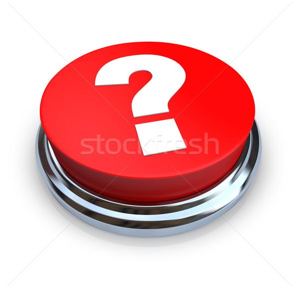 Foto stock: Ponto · de · interrogação · botão · vermelho · branco · internet · projeto