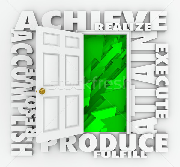 Achieve Word Door Accomplish Goals Successful Mission Stock photo © iqoncept
