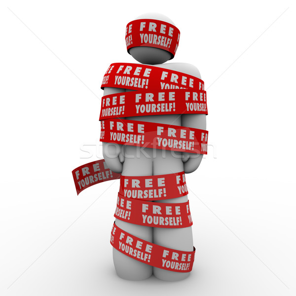 Free Yourself Tape Wrapped Around Man Fight Back Stock photo © iqoncept