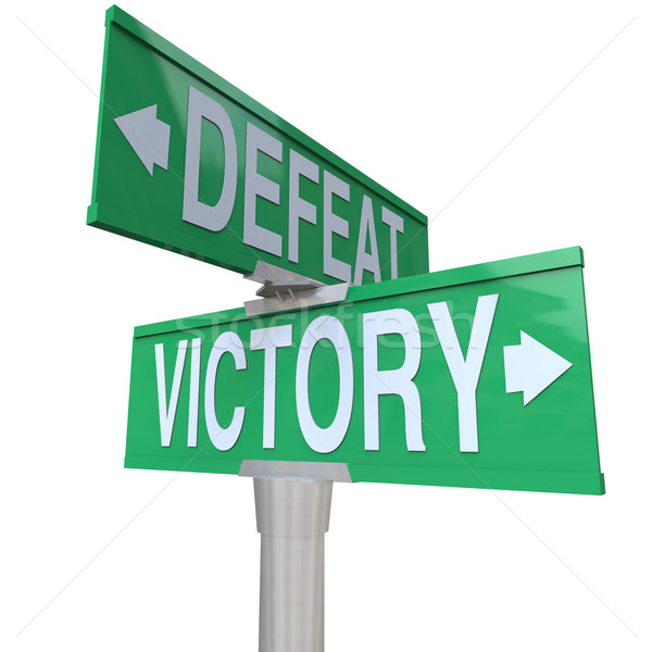 Victory Vs Defeat Two Way Street Road Signs Win or Lose Stock photo © iqoncept