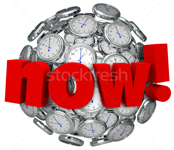 Now Word Clocks Time Passing Urgent Action Required Stock photo © iqoncept