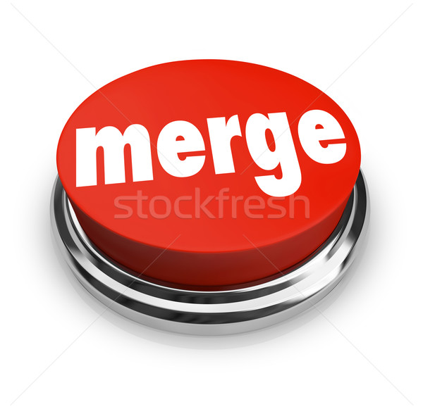 Merge Word Press Button Combine Companies Businesses Merger Stock photo © iqoncept