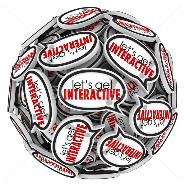 Lets Get Interacive Speech Bubbles Group Communication Stock photo © iqoncept