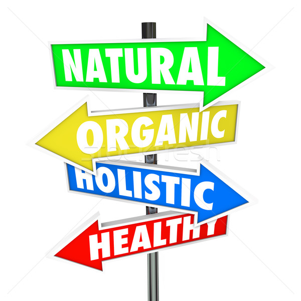 Natural Organic Holistic Healthy Eating Food Nutrition Arrow Sig Stock photo © iqoncept