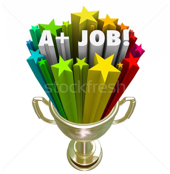 A Plus Job Words Gold Trophy Top Performance Award Stock photo © iqoncept