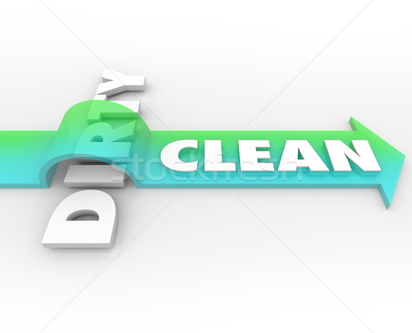 Clean Vs Dirty Arrow Over Word Cleanliness Wins Stay Safe Health Stock photo © iqoncept