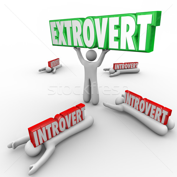 Extrovert Vs Introvert People Uninhibited Outgoing Character Stock photo © iqoncept
