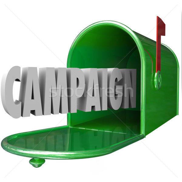 Campaign 3d Word Mailbox Deliver Direct Message Advertising Poli Stock photo © iqoncept
