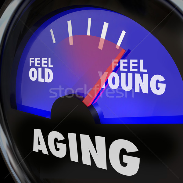 Aging Gauge Feel Old Vs Young Maintain Youth Engergy Vitality Stock photo © iqoncept