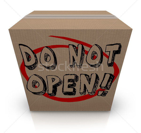 Do Not Open Cardboard Box Special Secret Private Confidential Co Stock photo © iqoncept