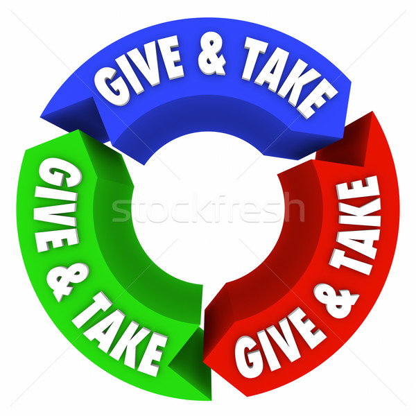 Give and Take Endless Loop Sharing Trading Bartering Compromise Stock photo © iqoncept
