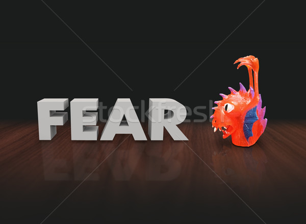 Fear 3d Word Red Plastic Finger Puppet Monster Stock photo © iqoncept