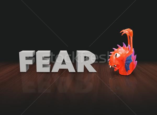 страхом 3D слово красный пластиковых пальца Сток-фото © iqoncept