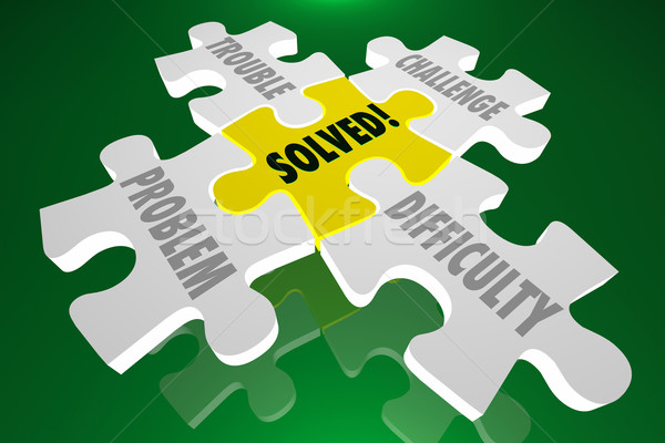 Solved Solution Trouble Problem Challenge Difficulty Puzzle Stock photo © iqoncept