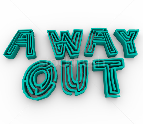 A Way Out - Maze Words Stock photo © iqoncept