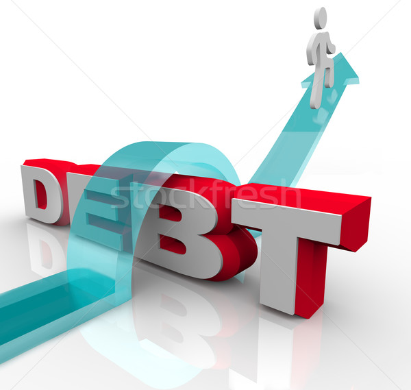 Getting Over Debt Overcome Financial Problem Crisis  Stock photo © iqoncept