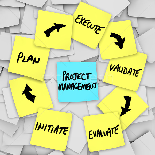 Project beheer workflow diagram plan sticky notes Stockfoto © iqoncept